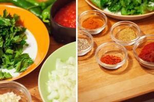Die Zutaten für karnıyarık werden vorbereitet und die Gewürze frisch gemahlen.