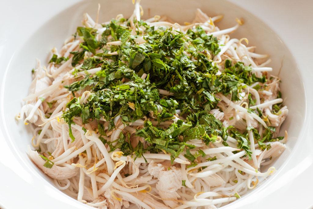 Die vietnamesische Hühnersuppe pho ga wird portionsweise angerichtet.