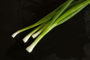 Frühlingszwiebeln werden in feine Ringe geschnitten.