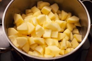 Alle Zutaten werden für den selbstgemachten Apfelmus in einen Topf gegeben.