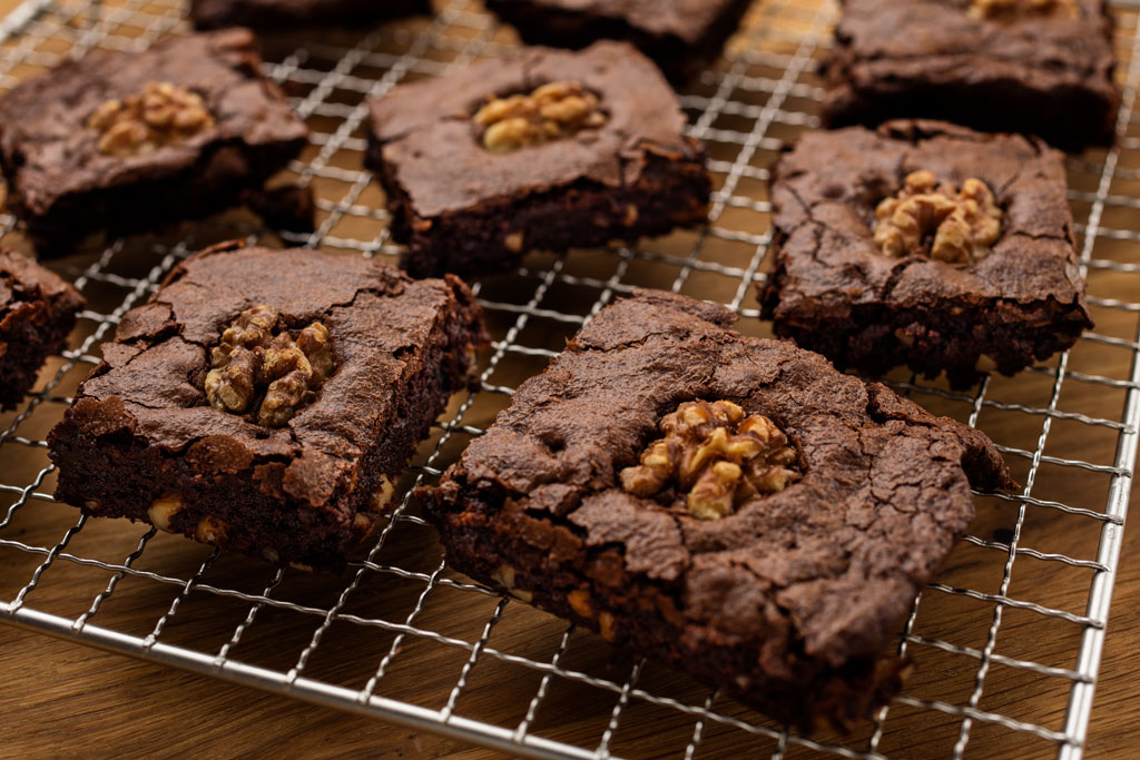 Brownies recept met walnoten.
