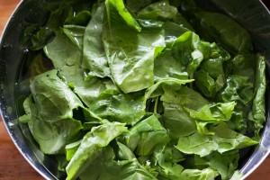 Den frischen Spinat für den Börek gründlich waschen.