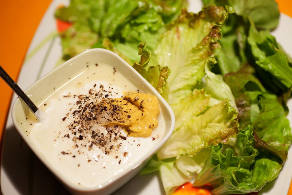 Joghurtsauce mit Salz, Pfeffer, Zucker, Zitronensaft, und einem Teeflöffel Senf.
