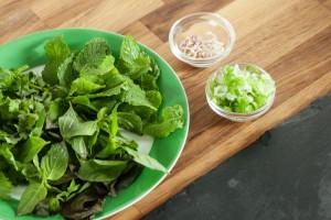 Minze, Koriander, Thailändischer, Basilikum, Zitronengras und Frühlingszwiebeln werden vorbereitet und bereitgestellt.