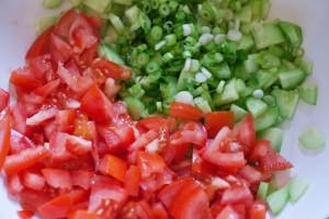 Tomaten, Gurke und Frühlingszwiebeln werden in feine Stücke geschnitten.