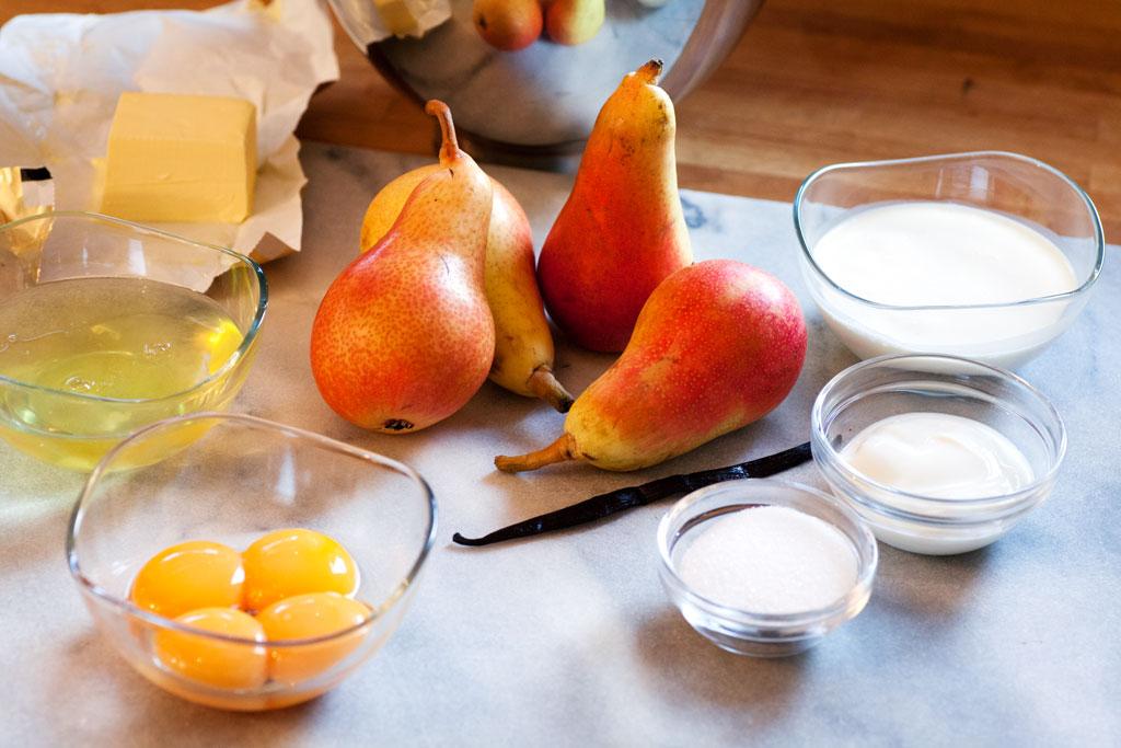 Zutaten für Birnenpfannkuchen: statt Vanilleschote kann auch Vanillezucker benutzt werden.